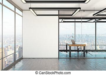 intérieur, affiche, blanc, bureau