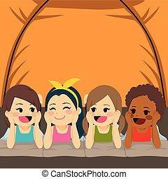 intérieur, amis, camper tente