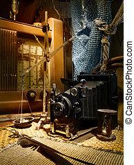 intérieur, ancien, studio, nature morte