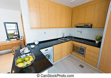 intérieur, -, appartement, moderne, cuisine