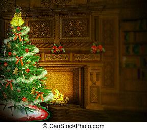 intérieur, arbre, noël, toile de fond