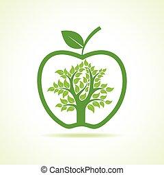 intérieur, arbre, pomme