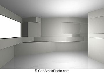 intérieur, architecture, futuriste