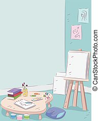 intérieur, art, salle
