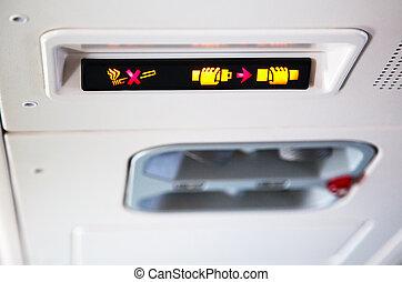 intérieur, avion, signes