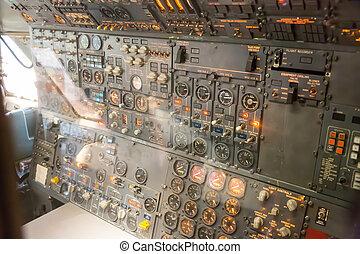 intérieur, avionics, plane., tableau bord