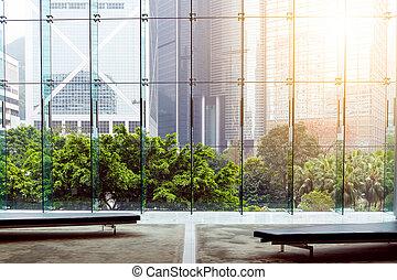 intérieur bâtiment, hong, moderne, kong
