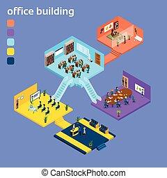 intérieur bâtiment, isométrique, bureau, 3d