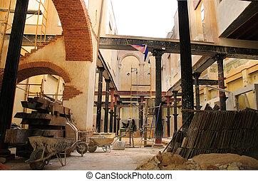 intérieur bâtiment, vieux, havane, cuba