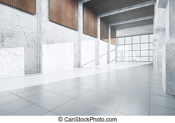 intérieur, béton, blanc, moderne