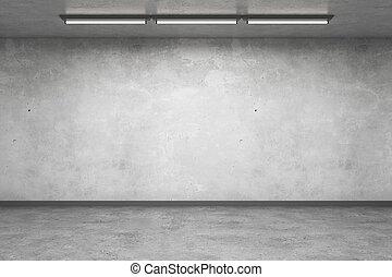 intérieur, béton, vide, mur