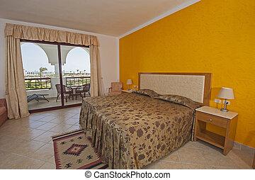 intérieur, balcon hôtel, luxe, chambre à coucher