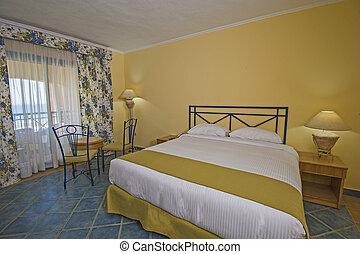 intérieur, balcon hôtel, salle, luxe