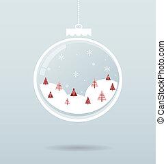 intérieur, balle, flocons neige, arbres, neige