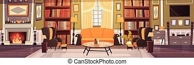 intérieur, bannière, conception, confortable, salle, vivant, fauteuils, bibliothèque, horizontal, meubles, sofa, table, cheminée