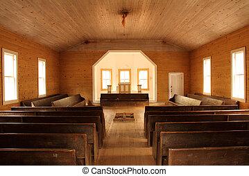intérieur, baptiste, église