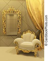 intérieur, baroque, meubles, luxueux