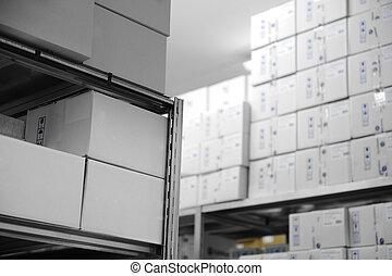 intérieur, beaucoup, boîtes, moderne, entrepôt