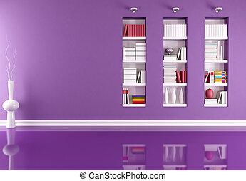 intérieur, bibliothèque, vide