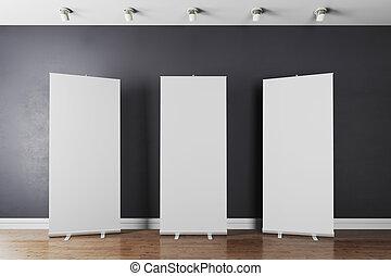 intérieur, blanc,  3D, rouleau, vide