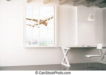 intérieur, blanc, avion, vue