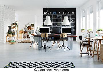 intérieur, blanc, bureau bureau