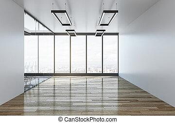 intérieur, blanc, bureau vide