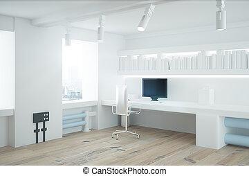 intérieur, blanc, côté, bureau