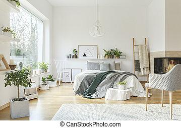 intérieur, blanc, confortable, chambre à coucher
