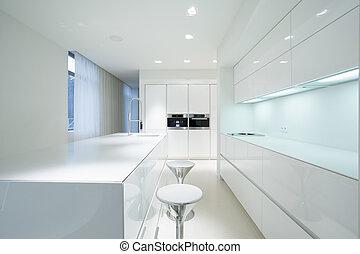 intérieur, blanc, cuisine