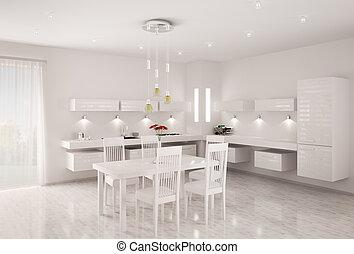 intérieur, blanc, cuisine, render, 3d