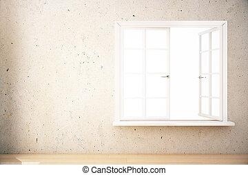 intérieur, blanc, fenêtre, vide