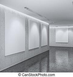 intérieur, blanc, galerie