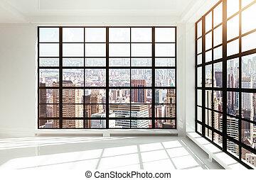 intérieur, blanc, grenier, vide