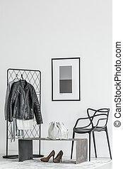 intérieur, blanc, hypnotisez couloir