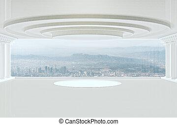 intérieur, blanc lumineux, podium