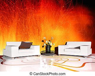 intérieur, blanc, meubles modernes