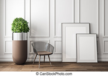 intérieur, blanc, moderne, bannière