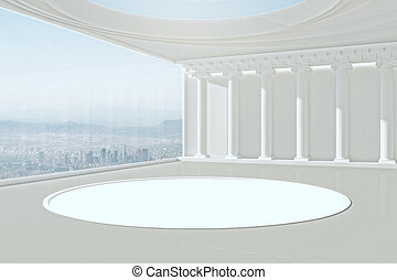 intérieur, blanc, moderne, podium