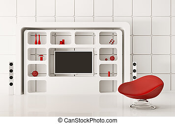intérieur, blanc, moderne, render, 3d