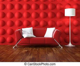 intérieur, blanc, moderne, rouges