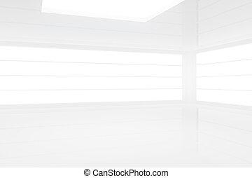 intérieur, blanc, moderne, vide