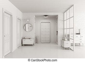 intérieur, blanc, salle, render, 3d