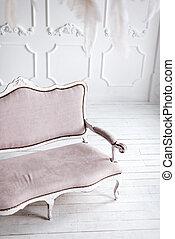 intérieur, blanc, sofa., classique, rose