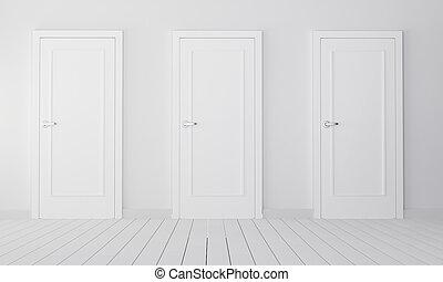intérieur, blanc, trois, portes, fermé