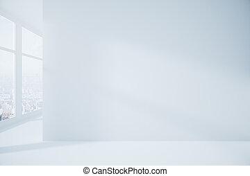 intérieur, blanc, vide