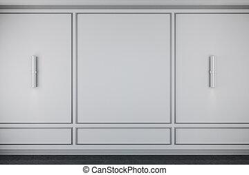 intérieur, blanc, vide, classique