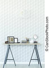 intérieur, bois, blanc, table