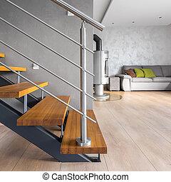 intérieur, bois, villa, escalier