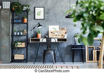 intérieur, botanique, artistique, bureau, salle